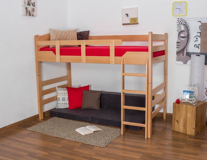 Hochbett für Erwachsene Easy Premium Line  K14 n, Buche Vollholz massiv Natur - Mae  90 x 200 cm