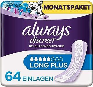 Always Discreet Inkontinenzeinlagen Long Plus 64 Binden Monatspaket, diskreter Schutz & hohe Saugstärke, geruchsneutralisierend, 4 x 16 Stück Verpackung kann variieren
