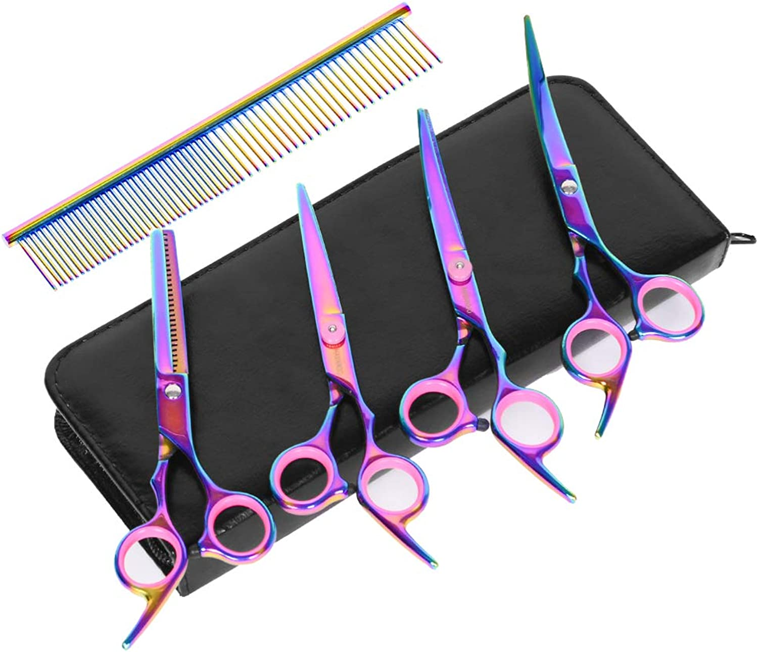 HAVARGO Grooming Scissors KitsPet Groom Hair Tool Set Stainless Steel Home Curved&Cutting&Thinning Shears