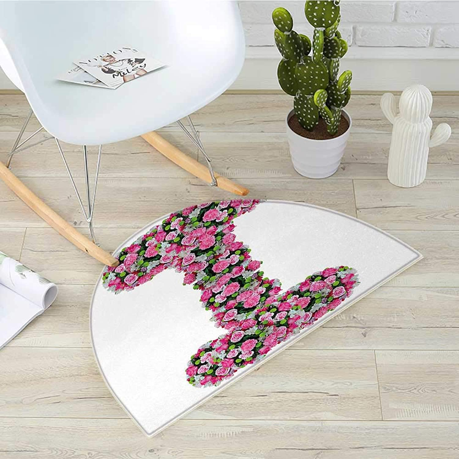 Letter I Half Round Door mats Initial Letter I with colorful Blooming Bouquet Daisies Realistic Looking Flowers Bathroom Mat H 51.1  xD 76.7  Pink Green
