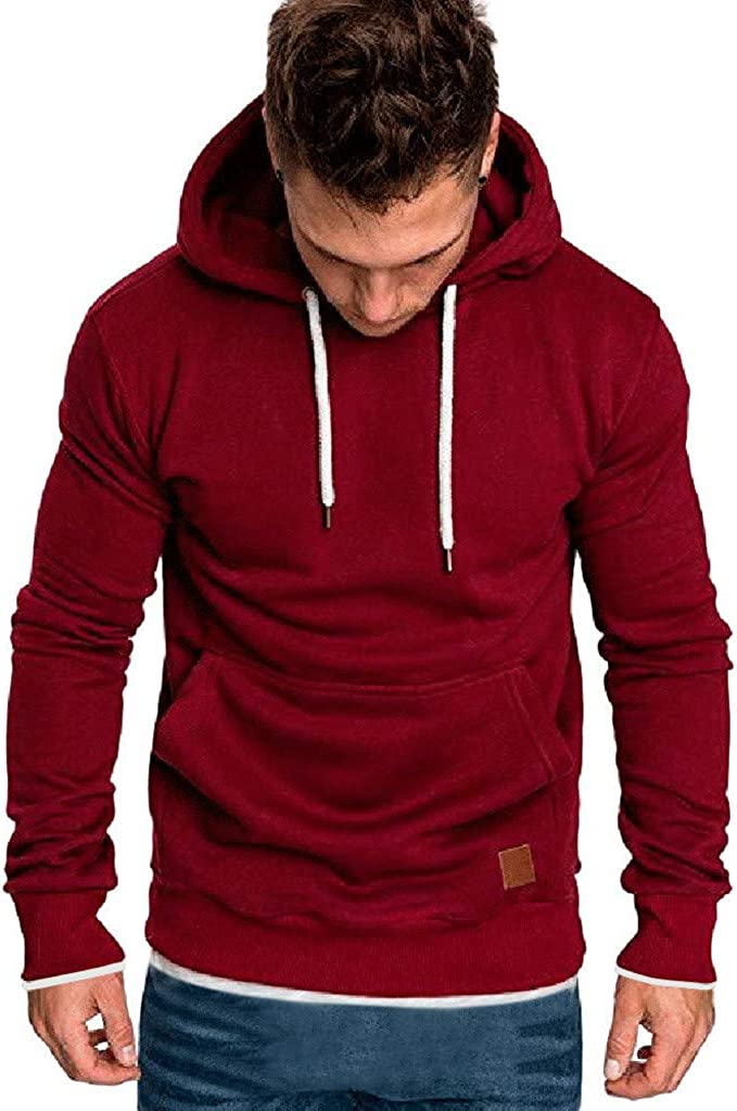 Hoodies for Men Pullover Lightweight, F_Gotal Solid Color Long Sleeve Hoodies Casual Sports Outwear Hooded Sweatshirts