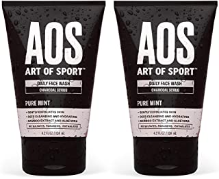 Art of Sport Daily Face Wash (2-Pack) - Charcoal Face Scrub - Exfoliating Face Wash for Men with Natural Bo...