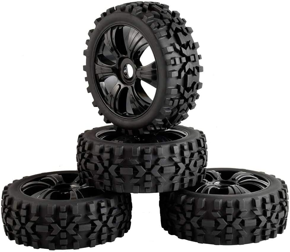 LAFEINA Free Shipping Ranking TOP2 New 4PCS 1:8 RC Tire and Plastic Rim 1 Set Wheel Scale for 8