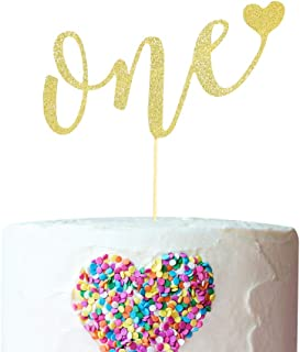 One Cake Topper for 1st Birthday - Gold Glitter Cake Topper for Birthday party,Birthday Decoration for Cake Topper,ONE Sign Cake Flag,Photo Booth Props for Birthday Surprise
