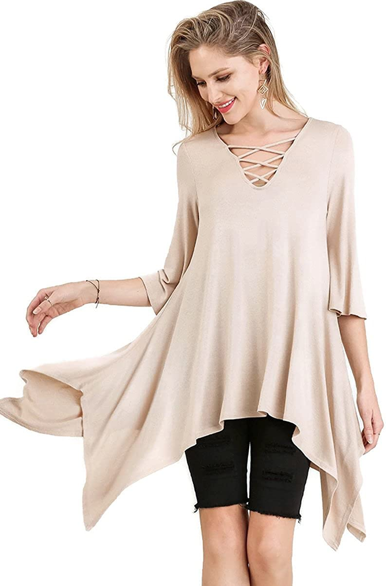Umgee Women's Caged Bell Sleeve Asymmetrical Tunic Top