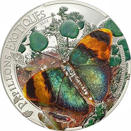 Power Coin Butterfly 3D Exotic Butterflies Moneda Plata 5D Central African Republic 2014