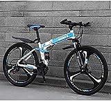 Bicicletas Plegables MTB, 26 pulgadas, 27 velocidas, Freno de Disco Doble, Susprensión Total Antideslizante, Cuadro Ligero, Horquilla de Suspensión Bicicletas de Carreras Para Hombres ( Color : B 2 )