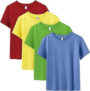 LAPASA Pack de 4 Camiseta para Niño o Niña Unisex de Manga