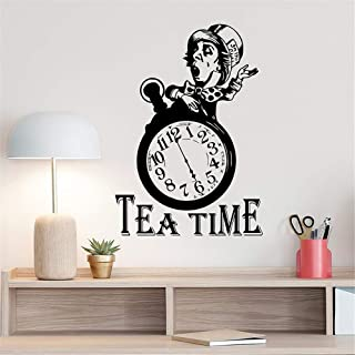leecal Wall Stickers Design Art Words Sayings Removable Lettering Sticker Alice in Wonderland Mad Hatter Quote Poster Sign for Tea Room