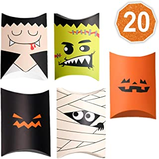 Halloween candy treat boxes 20 Pack Dracula, Mummy, Frankenstein Jack O Lantern Pumpkin Goodie Boxes for Party favors, decorations and Trick or Treat party supplies