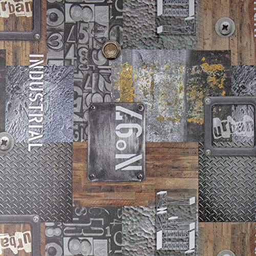 Venilia Klebefolie Industrial-Optik Garage, Muster, Dekofolie, Möbelfolie, Tapeten, Selbstklebende Folie, PVC, ohne Phthalate, grau, 45 cm x 2 m, Stärke: 0,35 mm, 54886