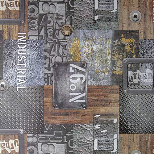 Klebefolie Industrial-Optik Garage, Folie mit Muster, Dekofolie, Möbelfolie, Tapeten, selbstklebende Folie, PVC, ohne Phthalate, grau, Stärke: 0,35 mm, Venilia 54886