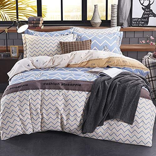 yaonuli Reine Baumwolle einfache aktive bettwäsche Einheit Baumwolle Schleifen warme vierteilige Set 2,0 großes Bett [bettbezug 220 * 240 cm]