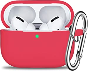 AirPods Pro Case Cover with Keychain, Full Protective Silicone Skin Accessories for Women Men Girl with Apple 2019 Latest AirPods Pro Case, Front LED Visible-Red