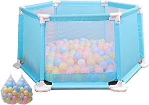 YEHL Playpen Baby Blue  Portable Play Yard with 100 Balls  6-Panel Children s Play Fence  High 50cm