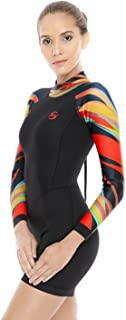 Women's Neoprene Shorty Wetsuit Long-Sleeve Swimsuit Water Suits for Diving Surfing Kayaking Canoeing Snorkeling - 2.0mm