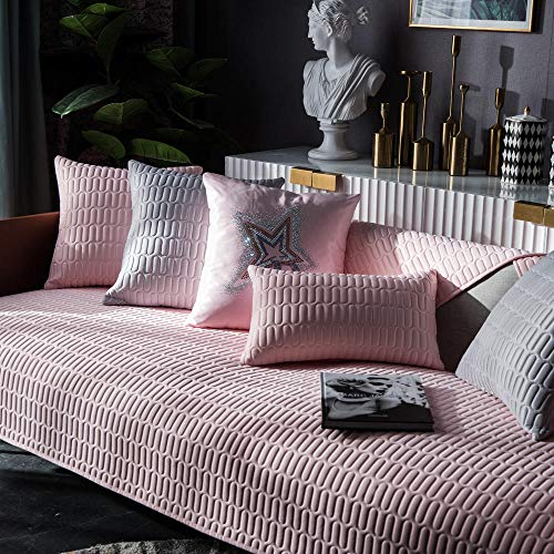 YUTJK El cojín del sofá de látex es Fresco en Verano,Dos Plazas Antideslizante Funda para Sofá,Universal Acolchado Funda,Cubre Sofá para Chaise Long Rinconera,Rosa_90×70cm
