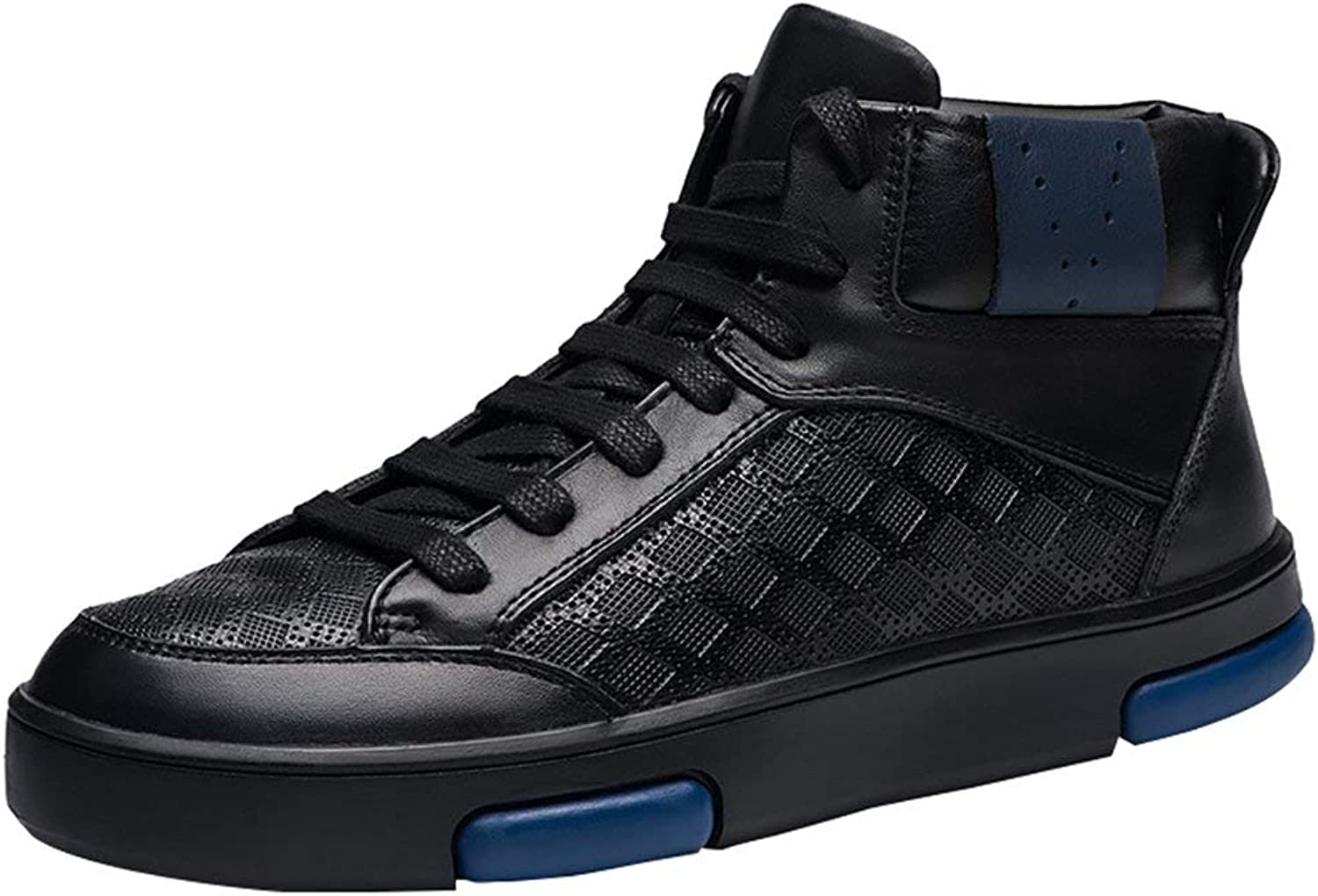 9d014375b873b Men's Vintage High Top Faux Fur-Lined Lace-up Leather Sneakers Warm ...