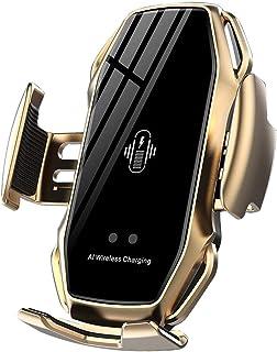 شاحن لاسلكي للسيارة كيو اي باللمس طاقم تثبيت حامل هاتف شحن تلقائي قابل للسحب حامل شحن سريع (A5-s-ذهبي)