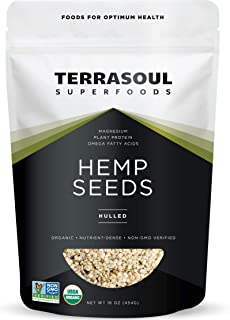 Terrasoul Superfoods Organic Hemp Seeds, 1 Lb - Hulled | Fresh | Protein Rich | Omega Fats