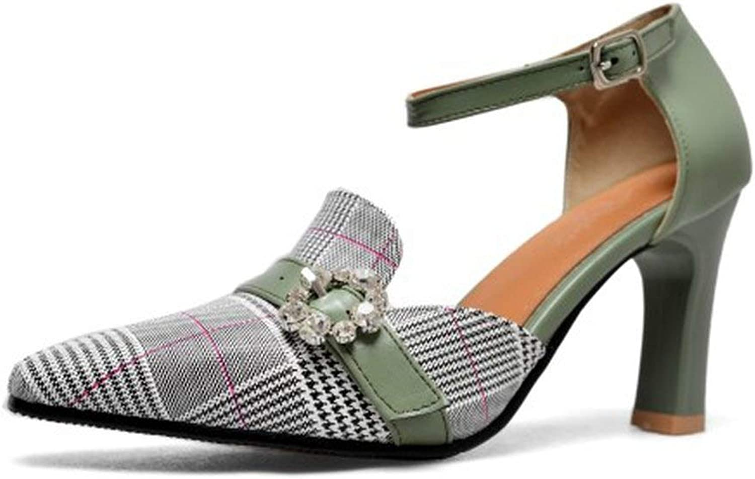 Women Pumps Sandals Jacquard Fabric Plaid High Heel Pointed Toe shoes Party Buckle