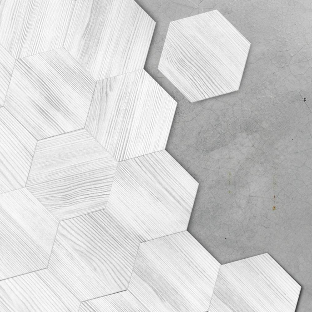 ome Furnishings Self Adhesive Hexagonal Floor Tile Sticker Non