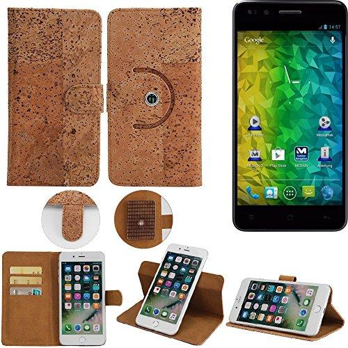 K-S-Trade® Schutz Hülle Für Medion Life P5004 Handyhülle Kork Handy Tasche Korkhülle Handytasche Wallet Case Walletcase Schutzhülle Flip Cover Smartphone