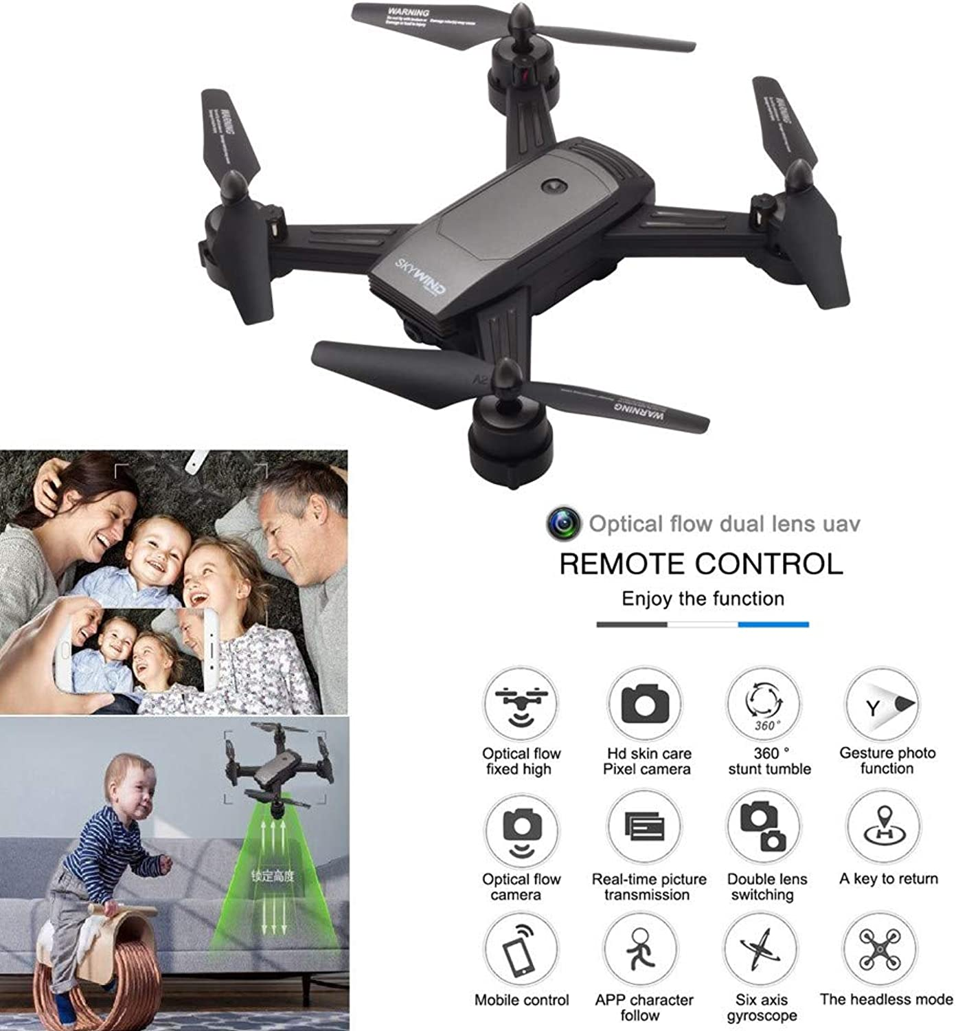 Dinglong 720P HD FPV WiFi Camera Drone for Beginners with Altitude Hold, APP Control, 3D Flips, Headless Mode, One Key Operation,Gesture Photo,2.4GHz 4 CH 6 Axis Gyro RTF RC Quadcopter