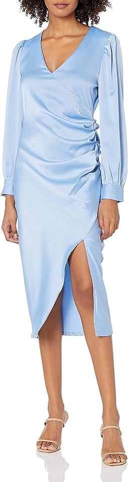 Pleated V-neck Wrap Dress