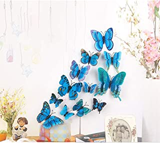Butterfly Wall Stickers,ForTomorrow 3D DIY Blue Butterfly Wall Decal Colorful Art Decor Crafts for Nursery Classroom Offices Kids Girl Boy Baby Bedroom Living Room (Wall Stickers Butterfly Blue 12PCS)