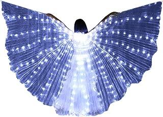 Modaworld Alas de ISIS de Ángel LED para Danza del Vientre para Adulto Mujer Alas de Mariposa con Bastones telescópicos Traje de Baile Capa Disfraz de Halloween Fiesta