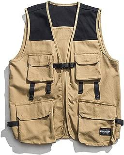 XXT Pocket Vest Cotton Men's Sports and Leisure Multi-Pocket Vest Practicality (Color : Khaki, Size : 2XL)