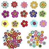 Botones de Madera Handmade Botones de Decorados Botones de Madera en Forma de Flor Botones Snap Botones Pequeños para Camisas Hebillas Manualidades Costura Ropa de Bebé 20mm 100 Piezas