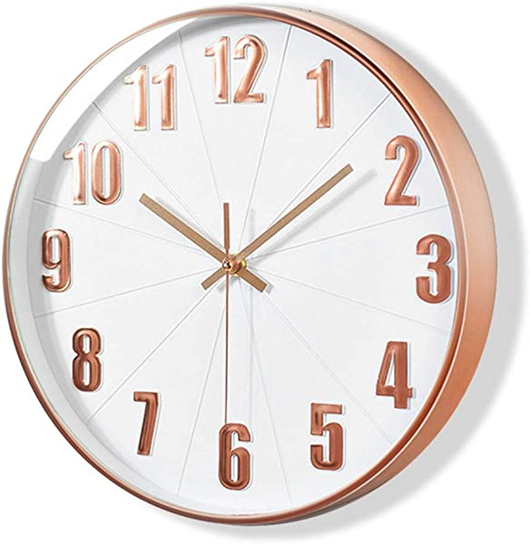 Lucor Rose Gold Wall Clock Silent Non Ticking 12 Inch Quality Quartz Battery Operated Clock For Living Room Home Office School Plastic Frame White Dial 3D Numbers Display