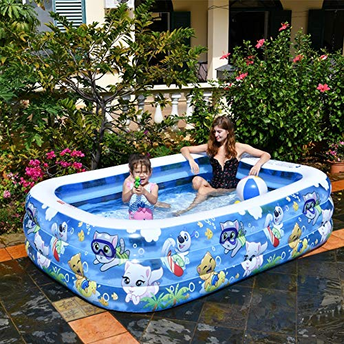 ZA Swimmingpool aufblasbares Planschbecken Baby Erwachsener Haushalt trägt Dicker Mariner Ball Kinderbecken (Size : 155X108X52cm)