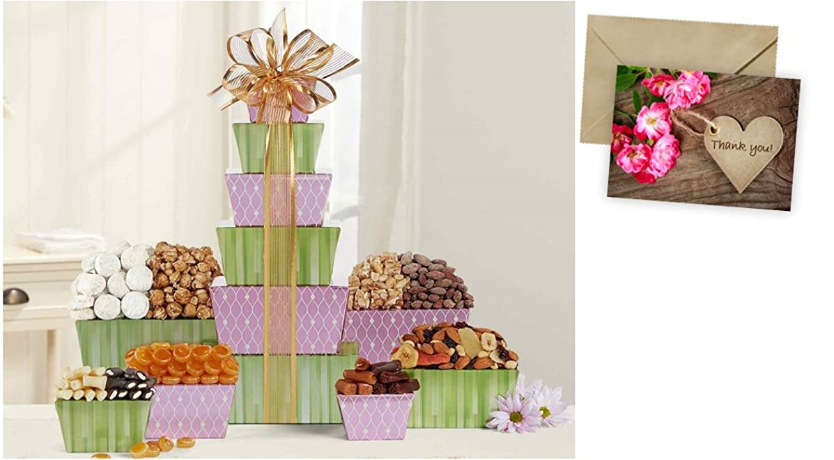 Tower Of Sweets Gift Basket for Thank You and personalized card mailed seperately, CD3279918