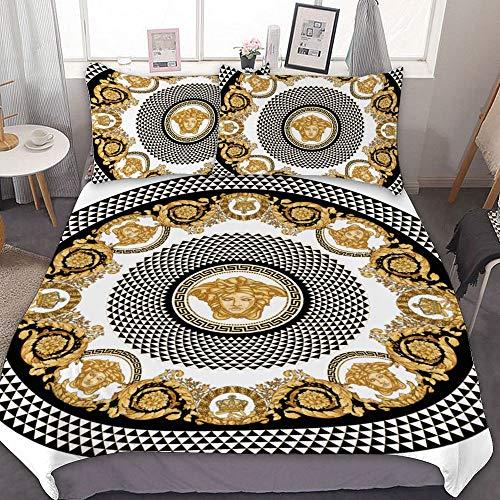 3-teiliges Bettwäsche-Set mit goldenem Barock-Mandala im Vintage-Stil mit Medusa-Kopf; 100 % natürliches Polyester-Bettbezug und 2 Kissenbezüge; sehr weich und atmungsaktiv