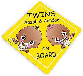 Personalizable Triplets on Board Car Stickers 3 Sisters Yellow Car Vinyl Sticker