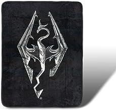 بطانية صوف قياسية مطبوع عليها شعار Skyrim مقاس 100 سم × 150 سم