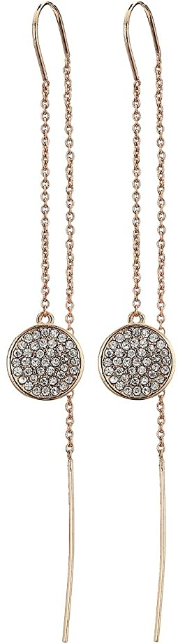 LAUREN Ralph Lauren - Rose Gold and Pave Disc Threader Earrings