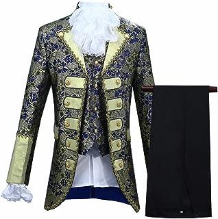 Mens Classic Palace Court Prince Costume 4-Piece Victorian Gothic Vintage Suit