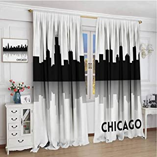 GUUVOR Chicago Skyline Heat Insulation Curtain Downtown Skyscrapers Illinois Tourism Travel Country Urban Minimalist for Living Room or Bedroom W120 x L72 Inch Black and White