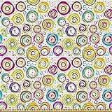 ABAKUHAUS Vistoso Tela por Metro, Círculo y puntos de primavera, Microfibra Decorativa para Artes y Manualidades, 1M (230x100cm), Multicolor