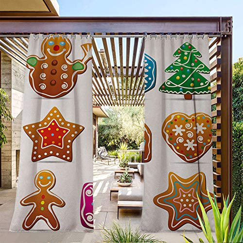 FOEYESEE Patio Curtains Outdoor Gingerbread Cookies in Cartoon Style Delicious Looking Pastries Xmas Taste Multicolor Great for Cabana/Covered Patio/Gazebo 108x84 Inch
