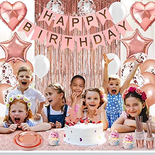 MMTX - Juego de decoraciones de fiesta de cumpleaños de oro rosa para niñas o mujeres, pancarta de feliz cumpleaños, cortinas, camino de mesa, globos (oro rosa, 30)