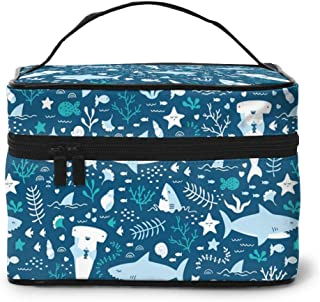 Women Portable Travel Cosmetic Bags Cute Sharks Pattern Mesh Pocket Make Up Bags