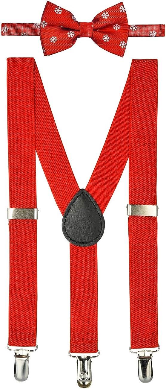 Retreez Boy's Suspender Bow Tie Set Christmas Snowflakes Pre-Tied Bow Tie