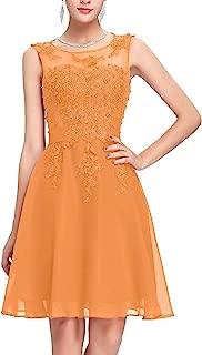 CladiyaDress Sheer Neck Beading Appliques Chiffon Short Bridesmaid Dress Party Gown D243LF