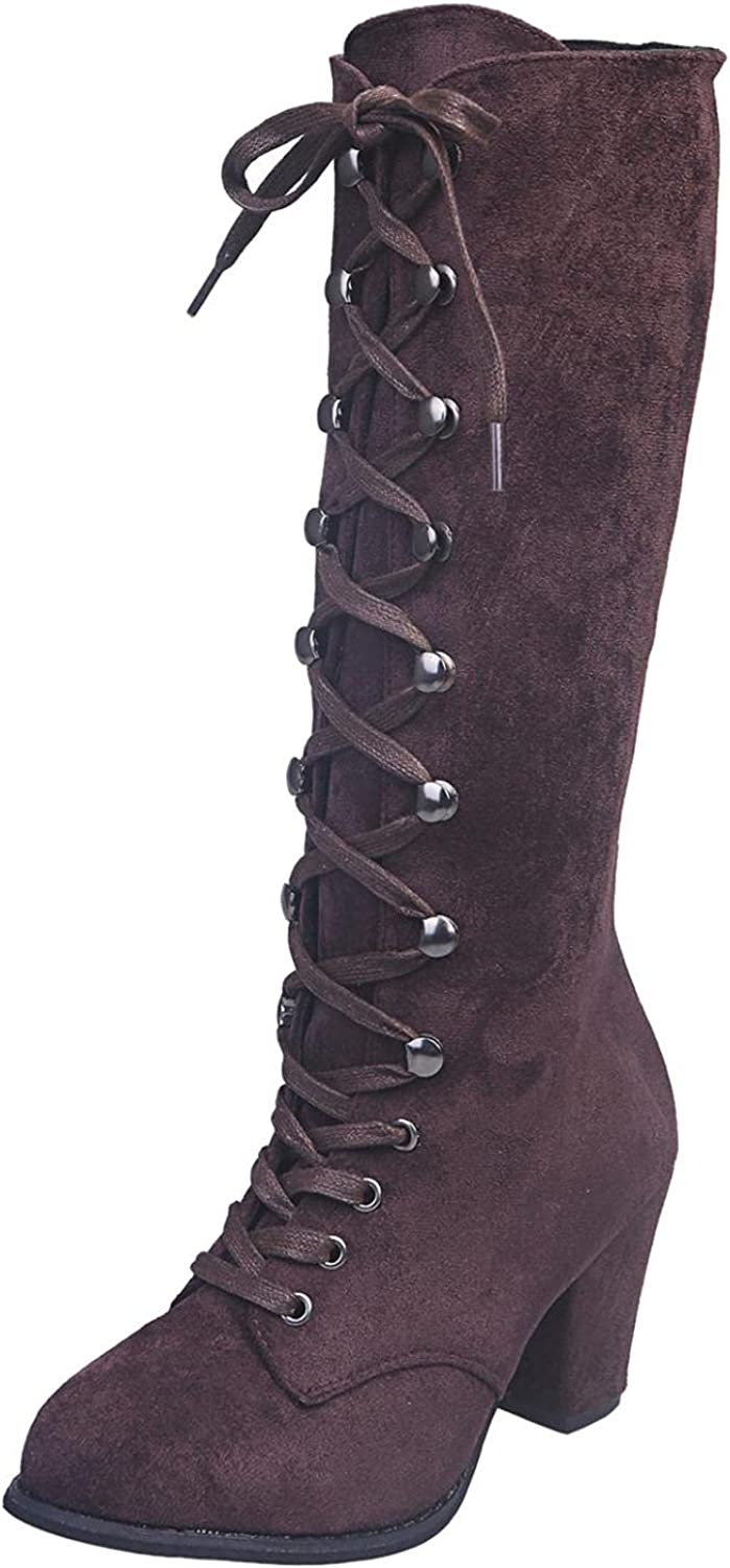 siilsaa Wide Calf Boots for Women, Womens Low Heel Round Toe Cas