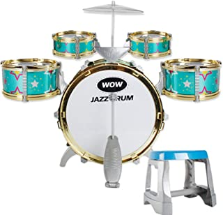 Kids Children Drum Kit Play Set Drums Musical Toy Instrument Pedal Stool (Green)